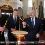 Президент Беларуси Александр Лукашенко посетил Ляденский Благовещенский монастырь