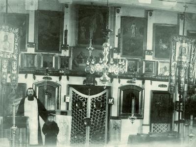 Святар Канстанцін Жданаў з сынам Георгіем. 1916 г.