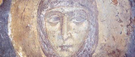 Фрэска XII ст. Спаса-Праабражэнская царква. Верагодны партрэт Еўфрасінні.