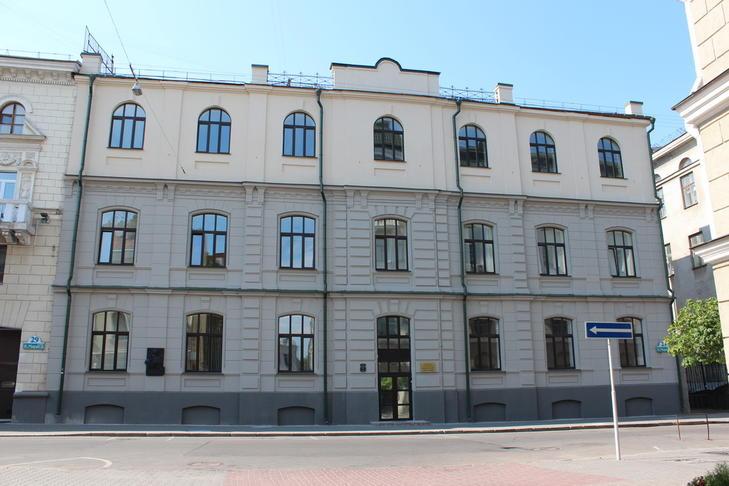 Сучасны выгляд будынка былой Марыінскай жаночай гімназіі ў Мінску.