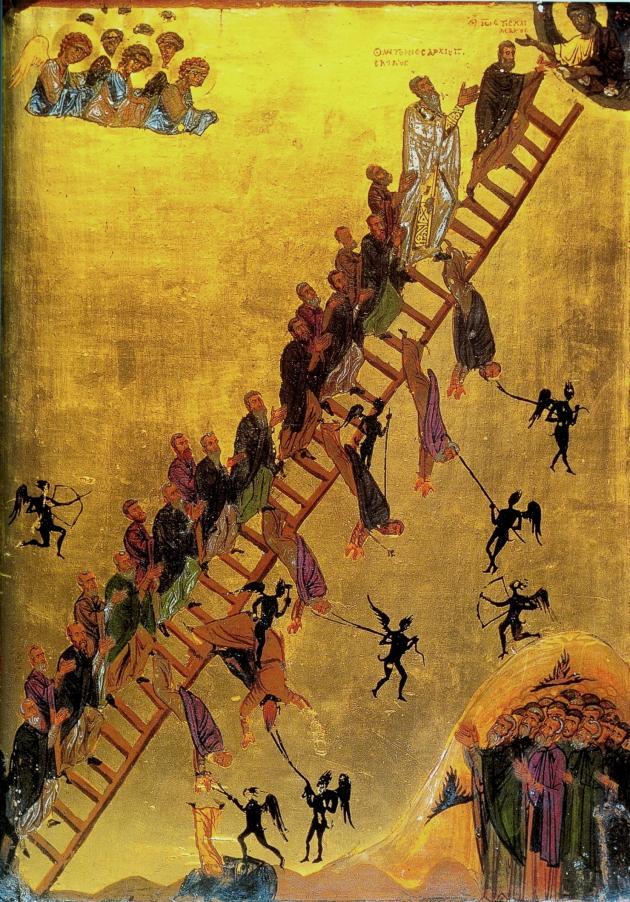 Видение Лествицы прп. Иоанном Лествичником. Икона. Кон. XII в. (монастырь вмц. Екатерины на Синае)